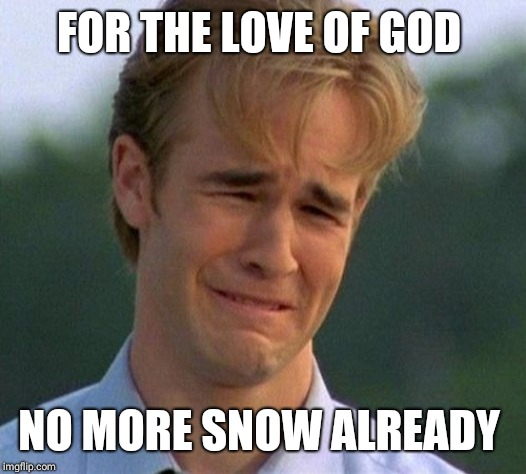 1990s First World Problems | FOR THE LOVE OF GOD NO MORE SNOW ALREADY | image tagged in memes,1990s first world problems | made w/ Imgflip meme maker