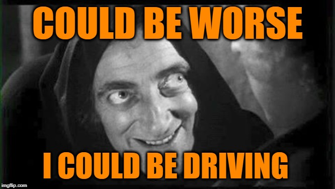 COULD BE WORSE I COULD BE DRIVING | image tagged in marty feldman | made w/ Imgflip meme maker