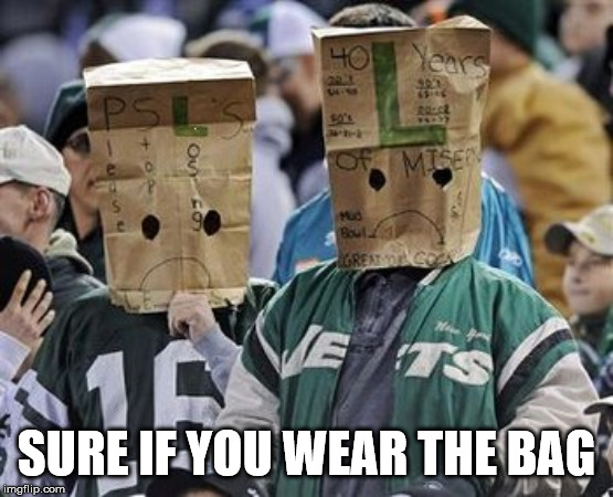 When your team sucks | SURE IF YOU WEAR THE BAG | image tagged in jets bag heads,sucks | made w/ Imgflip meme maker