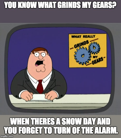 Ahh the sacred Hatred | YOU KNOW WHAT GRINDS MY GEARS? WHEN THERES A SNOW DAY AND YOU FORGET TO TURN OF THE ALARM. | image tagged in memes,peter griffin news | made w/ Imgflip meme maker