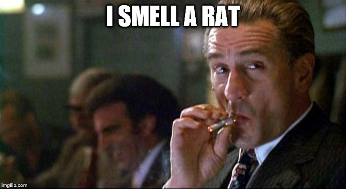 Robert Di Nero Mobster | I SMELL A RAT | image tagged in robert di nero mobster | made w/ Imgflip meme maker