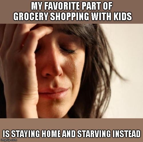 First World Problems Meme | MY FAVORITE PART OF GROCERY SHOPPING WITH KIDS IS STAYING HOME AND STARVING INSTEAD | image tagged in memes,first world problems | made w/ Imgflip meme maker