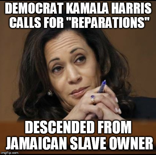"Yet another reason for me to stay away from the party I quit | DEMOCRAT KAMALA HARRIS CALLS FOR ""REPARATIONS"" DESCENDED FROM JAMAICAN SLAVE OWNER 