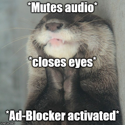 Otter confusion... | *Mutes audio* *Ad-Blocker activated* *closes eyes* | image tagged in blissful otter | made w/ Imgflip meme maker