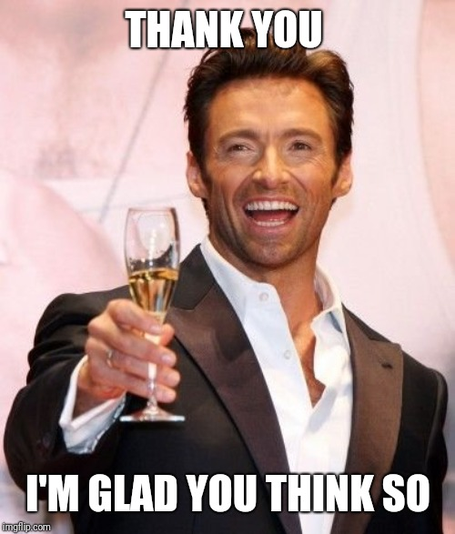 Hugh Jackman Cheers | THANK YOU I'M GLAD YOU THINK SO | image tagged in hugh jackman cheers | made w/ Imgflip meme maker