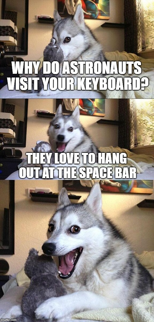 I wonder if astronaut drinks are freeze dried | WHY DO ASTRONAUTS VISIT YOUR KEYBOARD? THEY LOVE TO HANG OUT AT THE SPACE BAR | image tagged in memes,bad pun dog,astronaut,keyboard | made w/ Imgflip meme maker