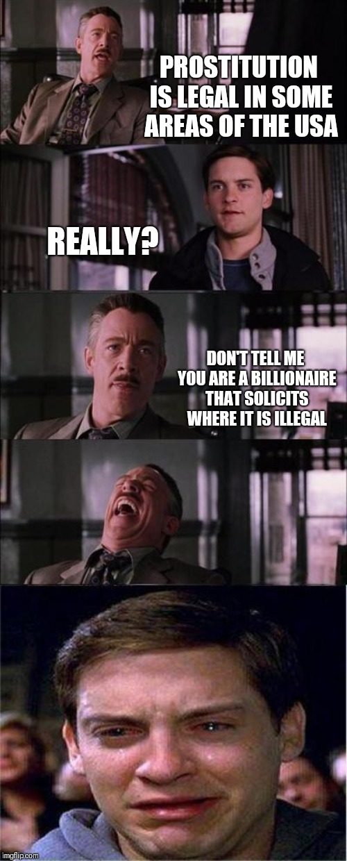 Just because you are rich doesn't mean you are intelligent | PROSTITUTION IS LEGAL IN SOME AREAS OF THE USA REALLY? DON'T TELL ME YOU ARE A BILLIONAIRE THAT SOLICITS WHERE IT IS ILLEGAL | image tagged in memes,peter parker cry | made w/ Imgflip meme maker