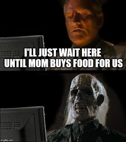 Ill Just Wait Here Meme | I'LL JUST WAIT HERE UNTIL MOM BUYS FOOD FOR US | image tagged in memes,ill just wait here | made w/ Imgflip meme maker