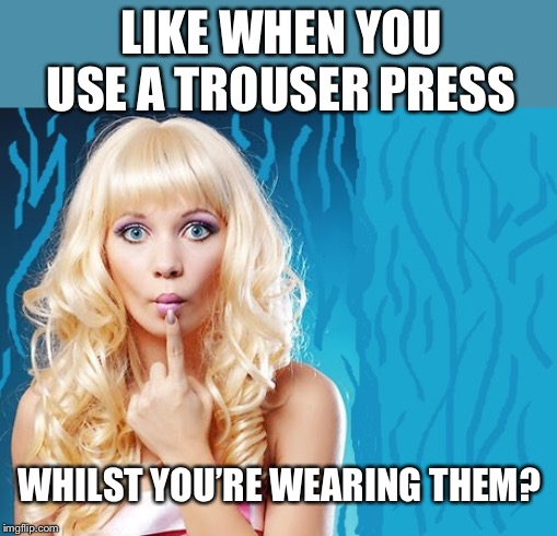 ditzy blonde | LIKE WHEN YOU USE A TROUSER PRESS WHILST YOU'RE WEARING THEM? | image tagged in ditzy blonde | made w/ Imgflip meme maker