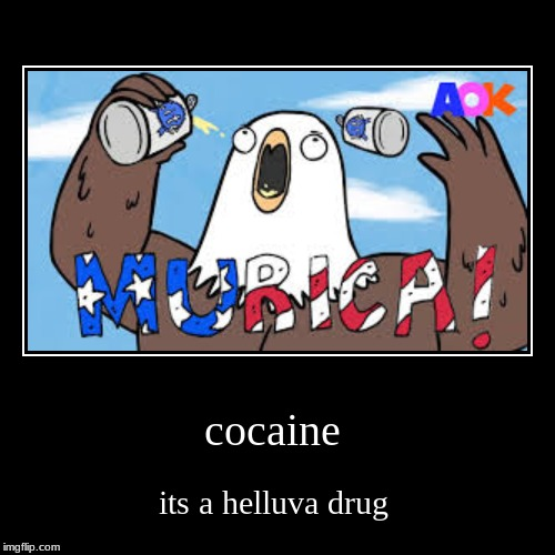 cocaine | its a helluva drug | image tagged in funny,demotivationals,murica,patriotic eagle,god bless america,cold beer here | made w/ Imgflip demotivational maker