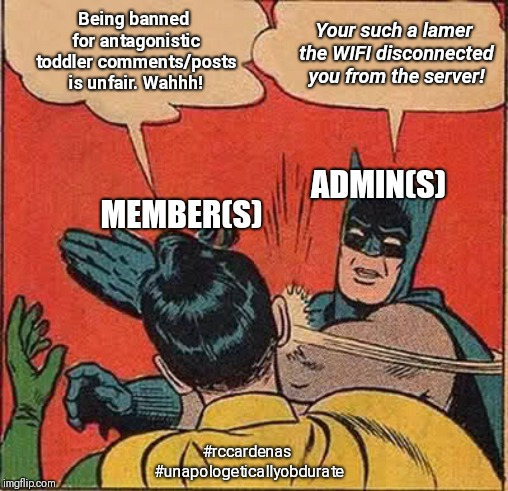Admins Be Like... | Being banned for antagonistic toddler comments/posts is unfair. Wahhh! Your such a lamer the WIFI disconnected you from the server! ADMIN(S) | image tagged in memes,batman slapping robin,admin,social media,adulting,banned | made w/ Imgflip meme maker
