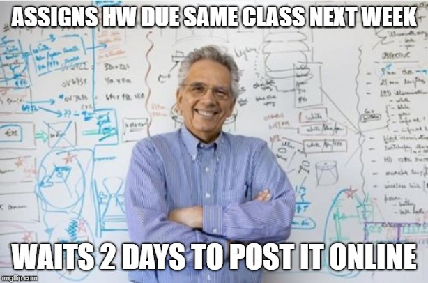 Engineering Professor | ASSIGNS HW DUE SAME CLASS NEXT WEEK WAITS 2 DAYS TO POST IT ONLINE | image tagged in memes,engineering professor,AdviceAnimals | made w/ Imgflip meme maker