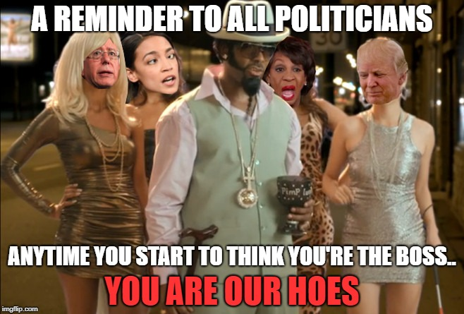 i hate to say it but i don't think we will get rich with these hoes |  A REMINDER TO ALL POLITICIANS; ANYTIME YOU START TO THINK YOU'RE THE BOSS.. YOU ARE OUR HOES | image tagged in politics,the governed you the real mvp,pimp,hoes | made w/ Imgflip meme maker