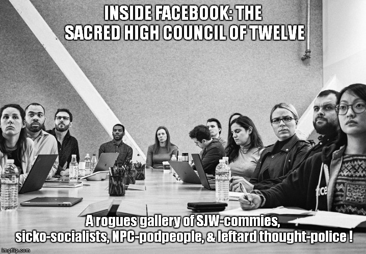 The Steering Committee of Facebook | INSIDE FACEBOOK: THE SACRED HIGH COUNCIL OF TWELVE A rogues gallery of SJW-commies, sicko-socialists, NPC-podpeople, & leftard thought-polic | image tagged in commissars,facebook,censors | made w/ Imgflip meme maker