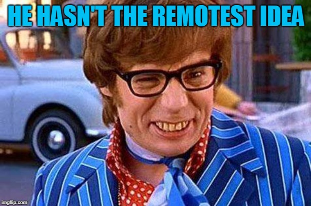 Austin Powers | HE HASN'T THE REMOTEST IDEA | image tagged in austin powers | made w/ Imgflip meme maker