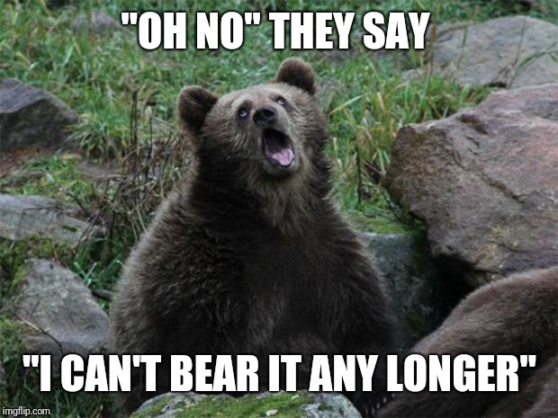 "Sarcastic Bear | ""OH NO"" THEY SAY ""I CAN'T BEAR IT ANY LONGER"" 