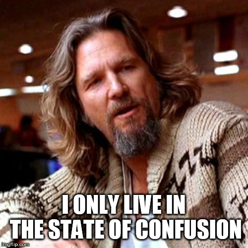 Confused, I always am. | I ONLY LIVE IN THE STATE OF CONFUSION | image tagged in memes,confused lebowski,humor | made w/ Imgflip meme maker