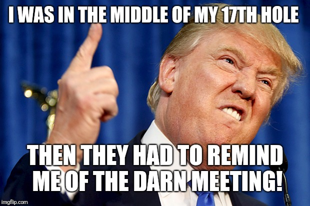 Donald Trump | I WAS IN THE MIDDLE OF MY 17TH HOLE THEN THEY HAD TO REMIND ME OF THE DARN MEETING! | image tagged in donald trump | made w/ Imgflip meme maker