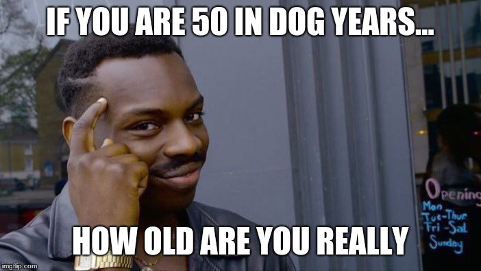 Roll Safe Think About It | IF YOU ARE 50 IN DOG YEARS... HOW OLD ARE YOU REALLY | image tagged in memes,roll safe think about it | made w/ Imgflip meme maker