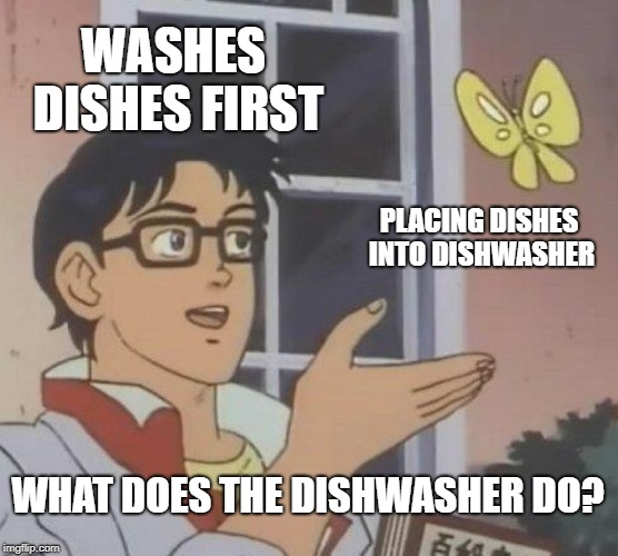 Different take on an instantly classic commercial. | WASHES DISHES FIRST PLACING DISHES INTO DISHWASHER WHAT DOES THE DISHWASHER DO? | image tagged in memes,is this a pigeon,dishwasher | made w/ Imgflip meme maker