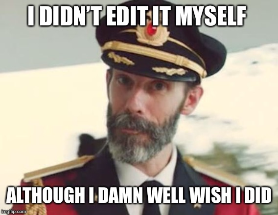 Captain Obvious | I DIDN'T EDIT IT MYSELF ALTHOUGH I DAMN WELL WISH I DID | image tagged in captain obvious | made w/ Imgflip meme maker