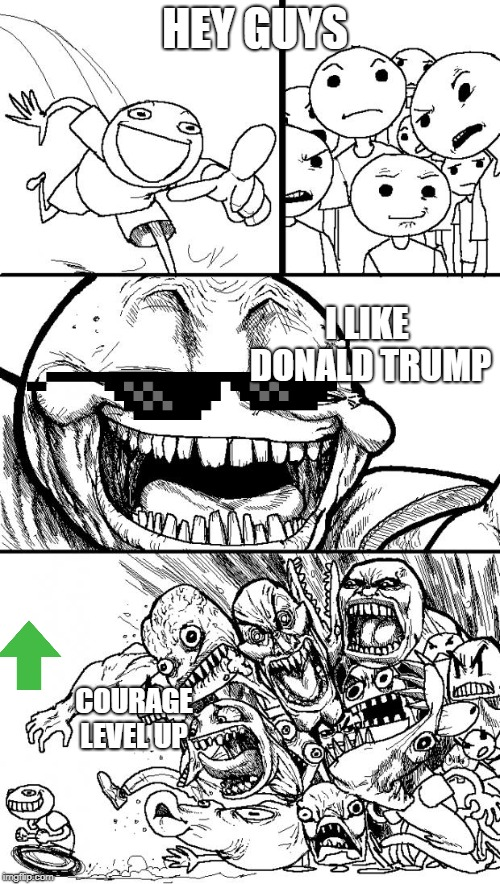 Hey Internet Meme | HEY GUYS I LIKE DONALD TRUMP COURAGE LEVEL UP | image tagged in memes,hey internet | made w/ Imgflip meme maker