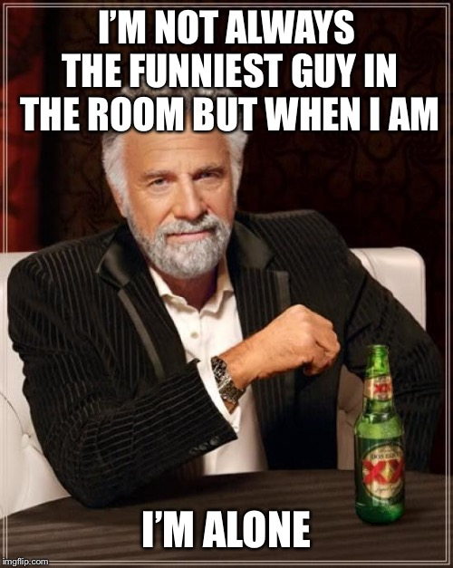 I crack me up | I'M NOT ALWAYS THE FUNNIEST GUY IN THE ROOM BUT WHEN I AM I'M ALONE | image tagged in memes,the most interesting man in the world | made w/ Imgflip meme maker
