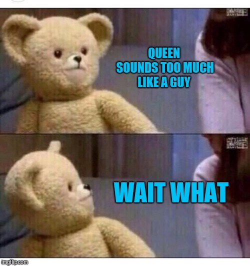 Wait what?? | QUEEN SOUNDS TOO MUCH LIKE A GUY WAIT WHAT | image tagged in wait what | made w/ Imgflip meme maker