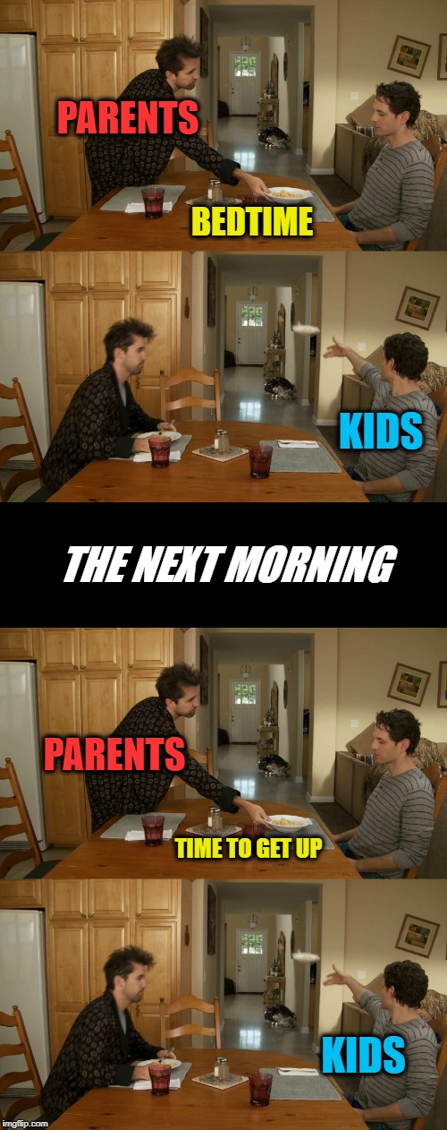 Can't win either way |  PARENTS; BEDTIME; KIDS; THE NEXT MORNING; PARENTS; TIME TO GET UP; KIDS | image tagged in plate toss,memes,dont wanna go to bed,dont wanna get up,it's always sunny in philidelphia,funny | made w/ Imgflip meme maker