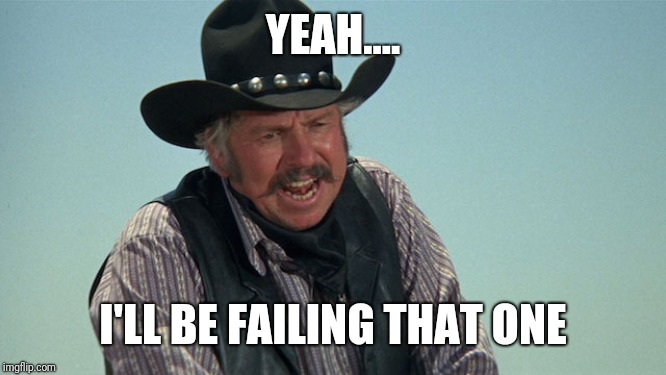 Slim Pickens | YEAH.... I'LL BE FAILING THAT ONE | image tagged in slim pickens | made w/ Imgflip meme maker