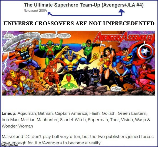 UNIVERSE CROSSOVERS ARE NOT UNPRECEDENTED | made w/ Imgflip meme maker