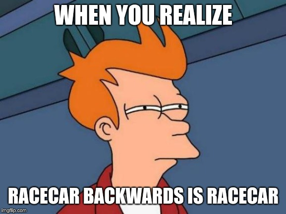 Futurama Fry Meme | WHEN YOU REALIZE RACECAR BACKWARDS IS RACECAR | image tagged in memes,futurama fry | made w/ Imgflip meme maker