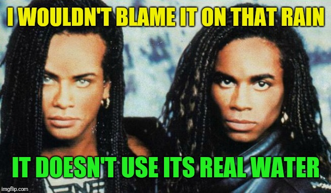 Milli Vanilli | I WOULDN'T BLAME IT ON THAT RAIN IT DOESN'T USE ITS REAL WATER | image tagged in milli vanilli | made w/ Imgflip meme maker