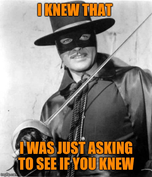 Zorro | I KNEW THAT I WAS JUST ASKING TO SEE IF YOU KNEW | image tagged in zorro | made w/ Imgflip meme maker