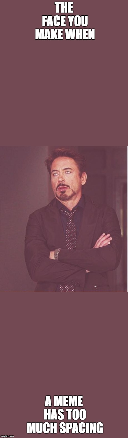 Face You Make Robert Downey Jr | THE FACE YOU MAKE WHEN A MEME HAS TOO MUCH SPACING | image tagged in memes,face you make robert downey jr | made w/ Imgflip meme maker