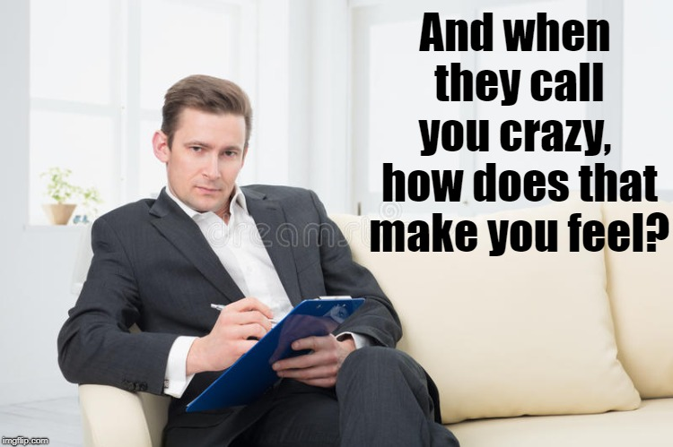 therapist | And when they call you crazy,  how does that make you feel? | image tagged in therapist | made w/ Imgflip meme maker