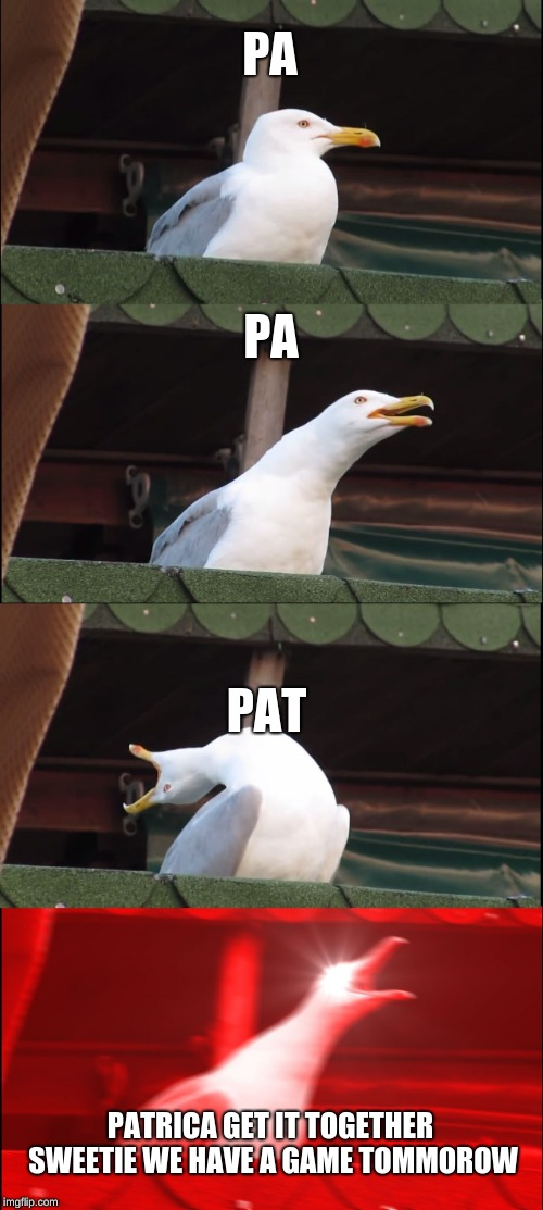 Inhaling Seagull |  PA; PA; PAT; PATRICA GET IT TOGETHER SWEETIE WE HAVE A GAME TOMMOROW | image tagged in memes,inhaling seagull | made w/ Imgflip meme maker