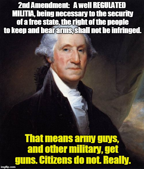 George Washington | 2nd Amendment:   A well REGULATED MILITIA, being necessary to the security of a free state, the right of the people to keep and bear arms, s | image tagged in memes,george washington | made w/ Imgflip meme maker
