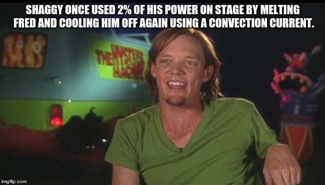 shaggy cast | SHAGGY ONCE USED 2% OF HIS POWER ON STAGE BY MELTING FRED AND COOLING HIM OFF AGAIN USING A CONVECTION CURRENT. | image tagged in shaggy cast | made w/ Imgflip meme maker