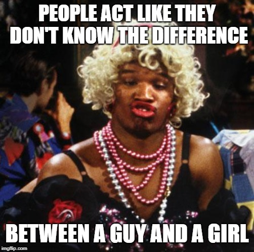 wanda from in living color | PEOPLE ACT LIKE THEY DON'T KNOW THE DIFFERENCE BETWEEN A GUY AND A GIRL | image tagged in wanda from in living color | made w/ Imgflip meme maker