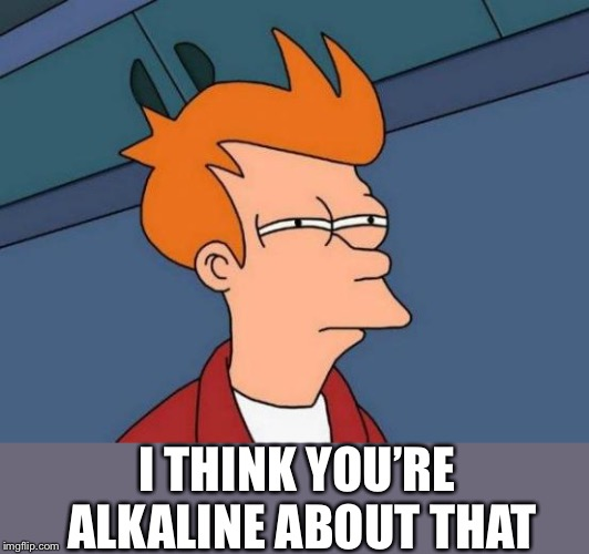 Futurama Fry Meme | I THINK YOU'RE ALKALINE ABOUT THAT | image tagged in memes,futurama fry | made w/ Imgflip meme maker