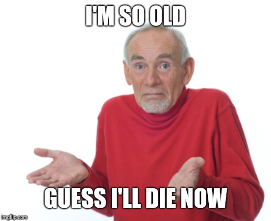 Guess I'll die  | I'M SO OLD GUESS I'LL DIE NOW | image tagged in guess i'll die | made w/ Imgflip meme maker