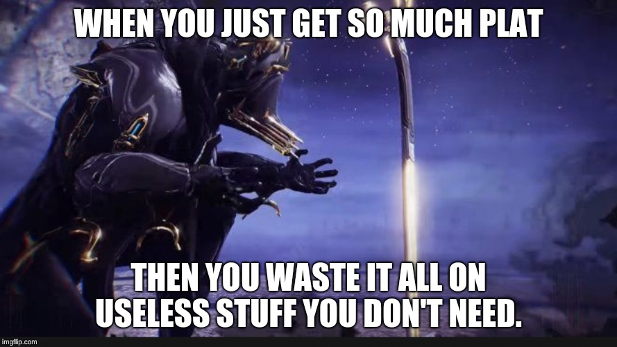 Warframe meme  | WHEN YOU JUST GET SO MUCH PLAT THEN YOU WASTE IT ALL ON USELESS STUFF YOU DON'T NEED. | image tagged in memes | made w/ Imgflip meme maker