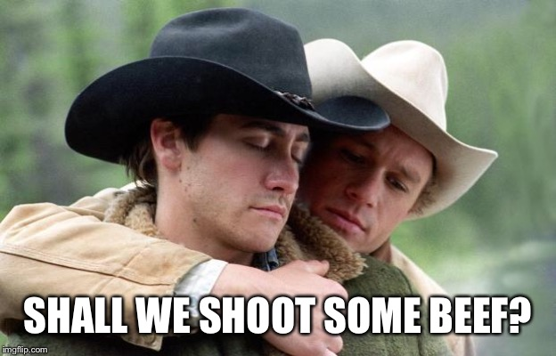 Brokeback Mountain | SHALL WE SHOOT SOME BEEF? | image tagged in brokeback mountain | made w/ Imgflip meme maker