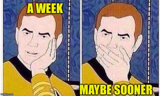star trek tas | A WEEK MAYBE SOONER | image tagged in star trek tas | made w/ Imgflip meme maker