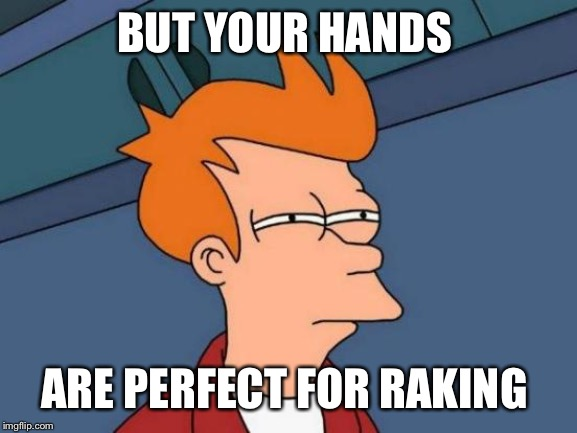 Futurama Fry Meme | BUT YOUR HANDS ARE PERFECT FOR RAKING | image tagged in memes,futurama fry | made w/ Imgflip meme maker
