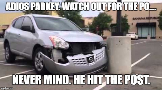 Bye Bye Parkey | ADIOS PARKEY. WATCH OUT FOR THE PO.... NEVER MIND. HE HIT THE POST. | image tagged in bears,chicago bears,parkey,kickers | made w/ Imgflip meme maker