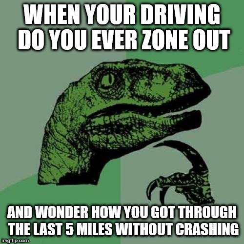 Philosoraptor | WHEN YOUR DRIVING DO YOU EVER ZONE OUT AND WONDER HOW YOU GOT THROUGH THE LAST 5 MILES WITHOUT CRASHING | image tagged in memes,philosoraptor | made w/ Imgflip meme maker