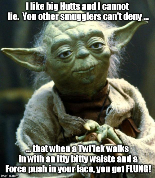 Star Wars Yoda Meme | I like big Hutts and I cannot lie.  You other smugglers can't deny ... ... that when a Twi'lek walks in with an itty bitty waiste and a Forc | image tagged in memes,star wars yoda | made w/ Imgflip meme maker