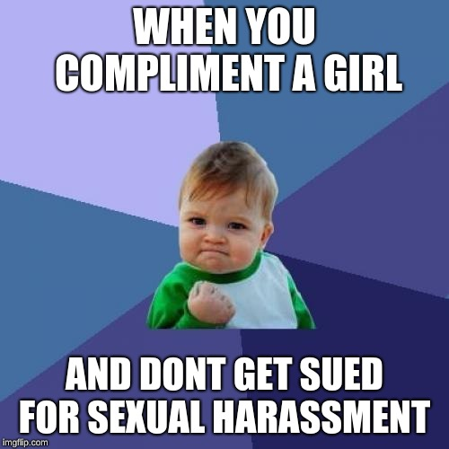 Success Kid | WHEN YOU COMPLIMENT A GIRL AND DONT GET SUED FOR SEXUAL HARASSMENT | image tagged in memes,success kid | made w/ Imgflip meme maker